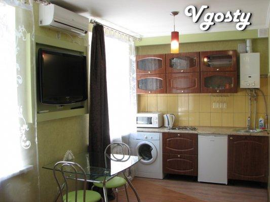 Однокімнатна квартира ЛЮКС, центр, Кондиціонер, інтернет - Квартири подобово без посередників - Vgosty