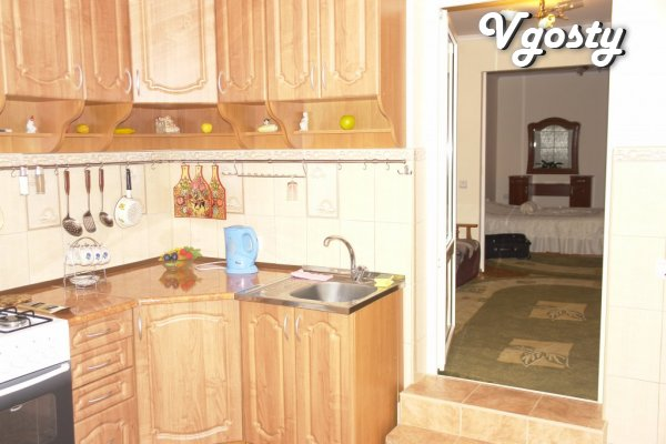 2 rooms in the center , in the new house , Kitchen, Renovation , - Apartments for daily rent from owners - Vgosty